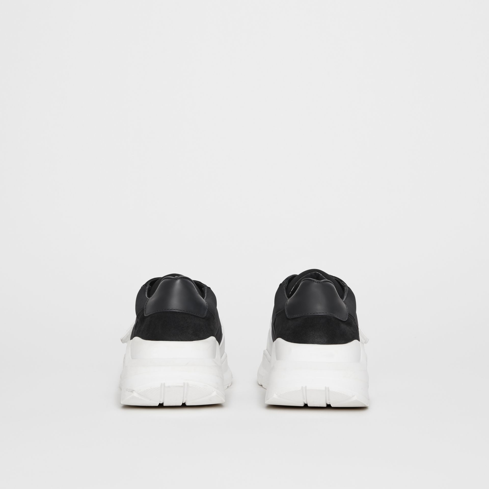 Suede, Neoprene and Leather Sneakers in Black/optic White - Women | Burberry United Kingdom - gallery image 4