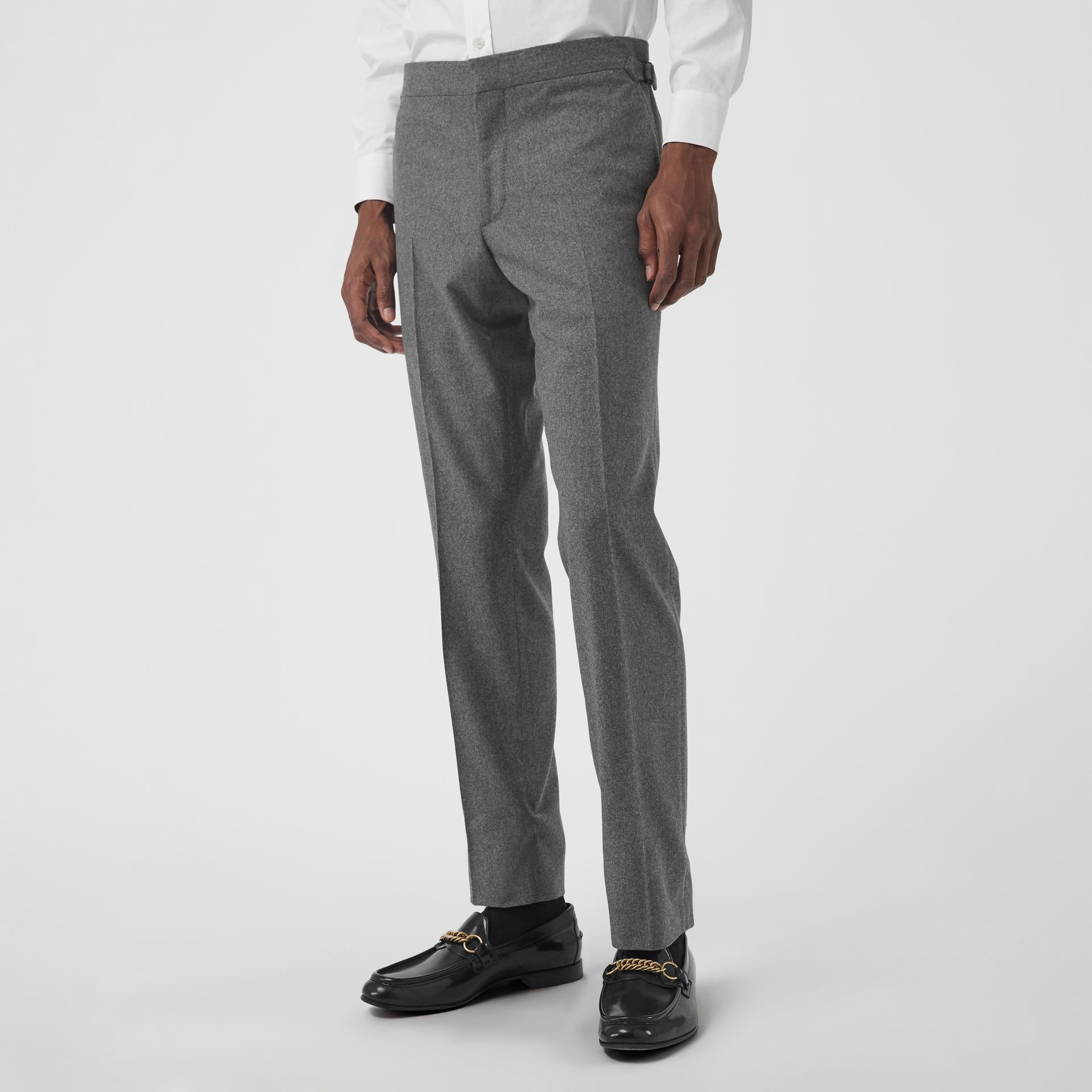 Wool Cashmere Tailored Trousers in Mid Grey Melange - Men | Burberry Singapore - gallery image 4