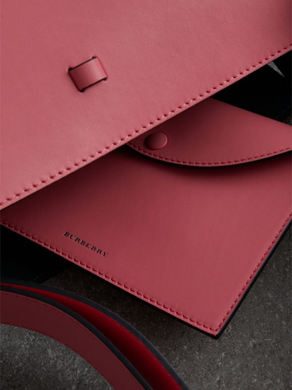 The Medium Leather Bucket Bag in Bright Coral Pink - Women | Burberry - cell image 3