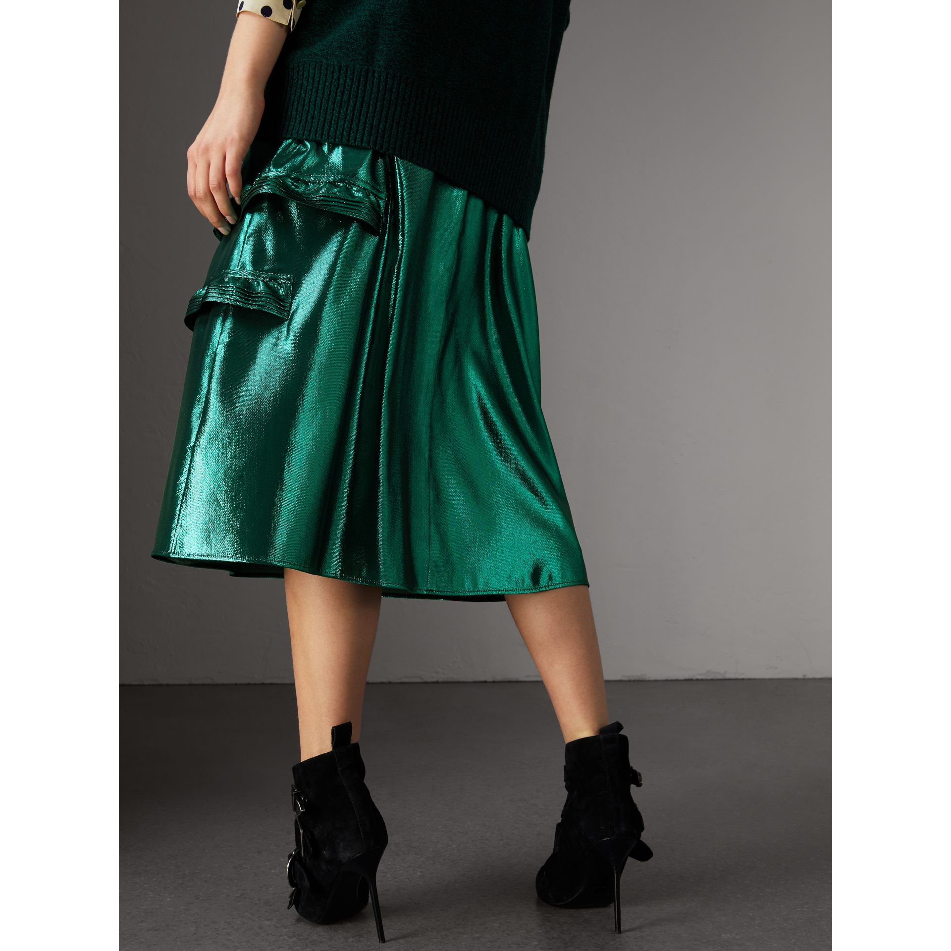 Ruffle Detail Lamé Skirt – Online Exclusive in Turquoise - Women | Burberry - gallery image 3