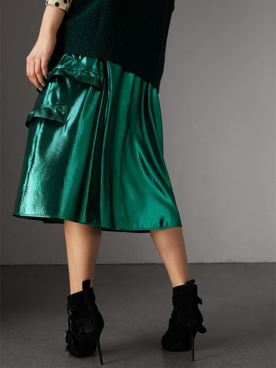 Ruffle Detail Lamé Skirt – Online Exclusive in Turquoise - Women | Burberry - cell image 2