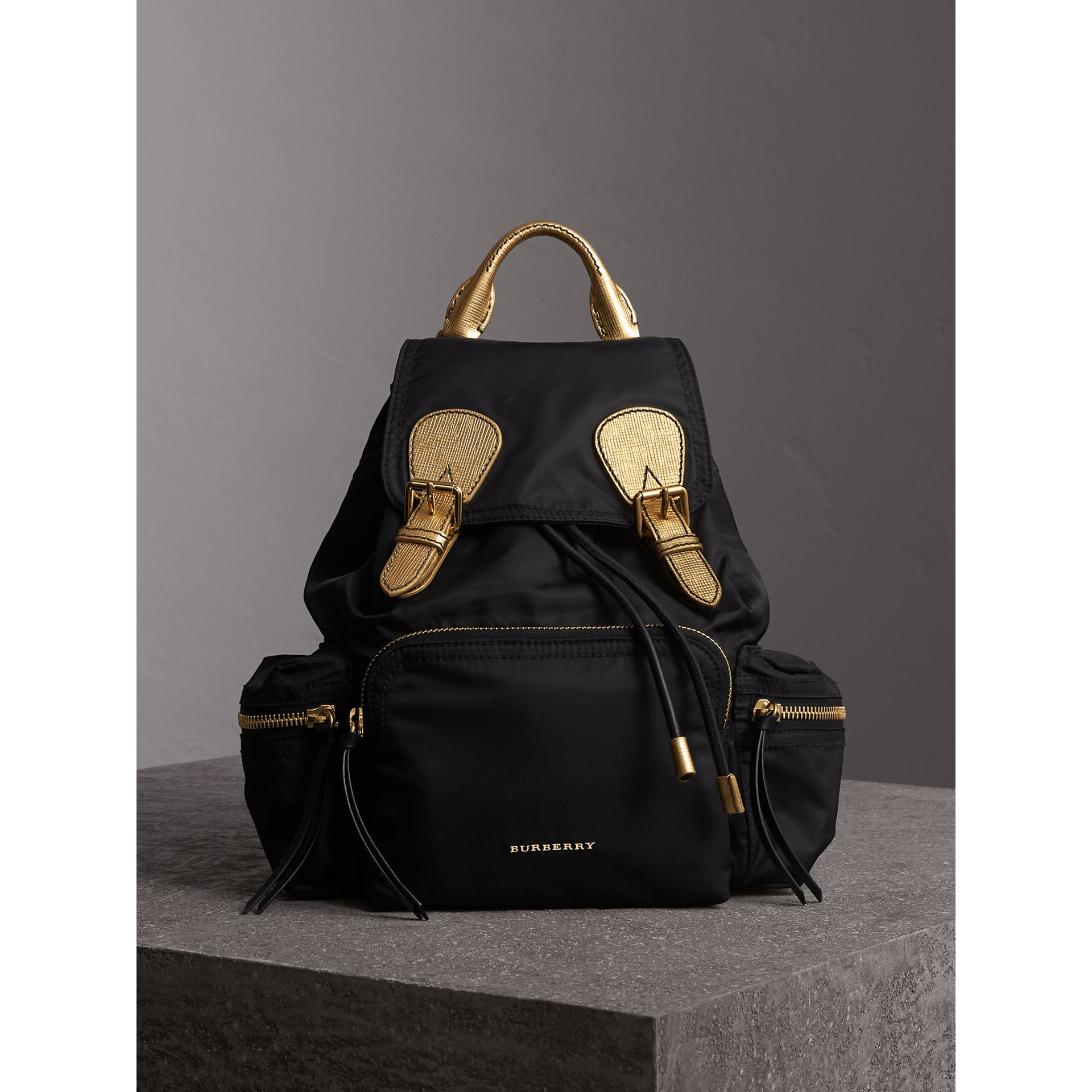 The Medium Rucksack in Two-tone Nylon and Leather in Black/gold - Women | Burberry Canada - gallery image 6