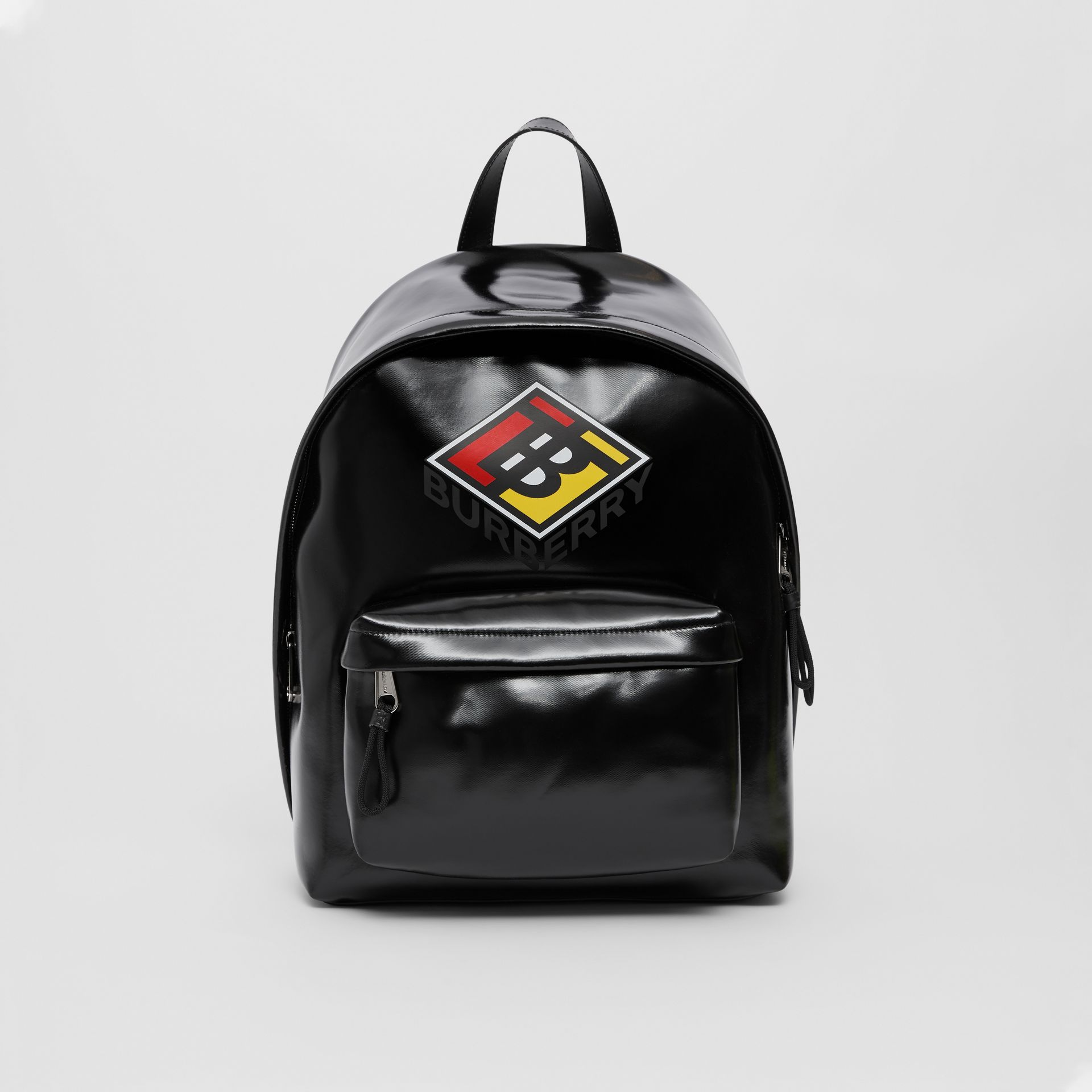 Logo Graphic Coated Canvas Backpack in Black | Burberry Hong Kong S.A.R - gallery image 0