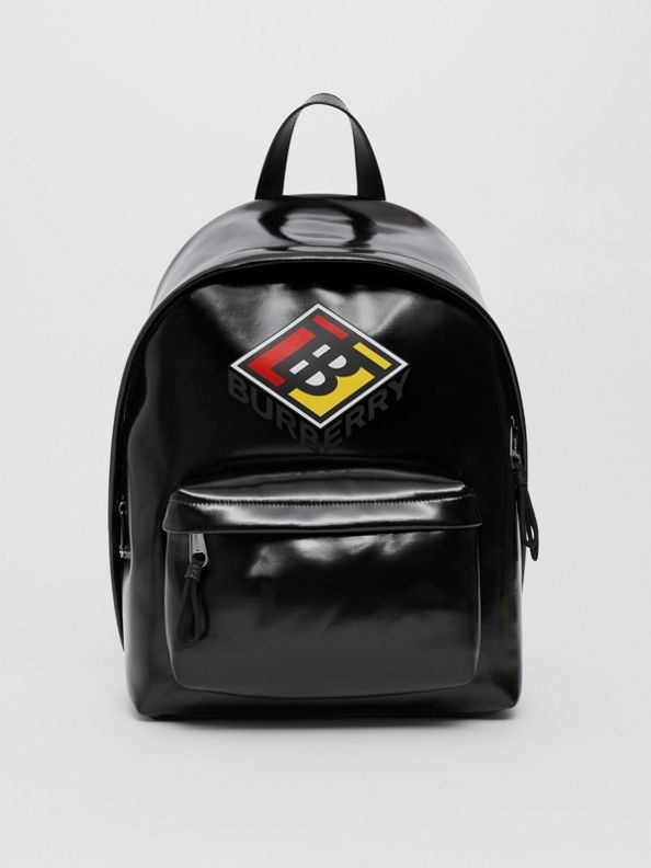 Logo Graphic Coated Canvas Backpack in Black