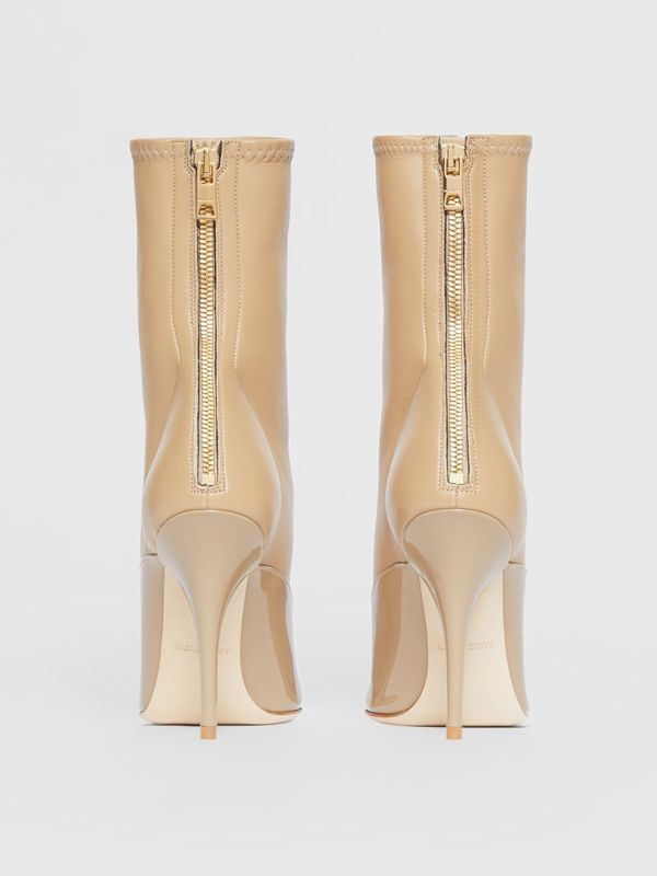 Lambskin and Patent Leather Ankle Boots in Dark Honey - Women | Burberry Hong Kong - cell image 3