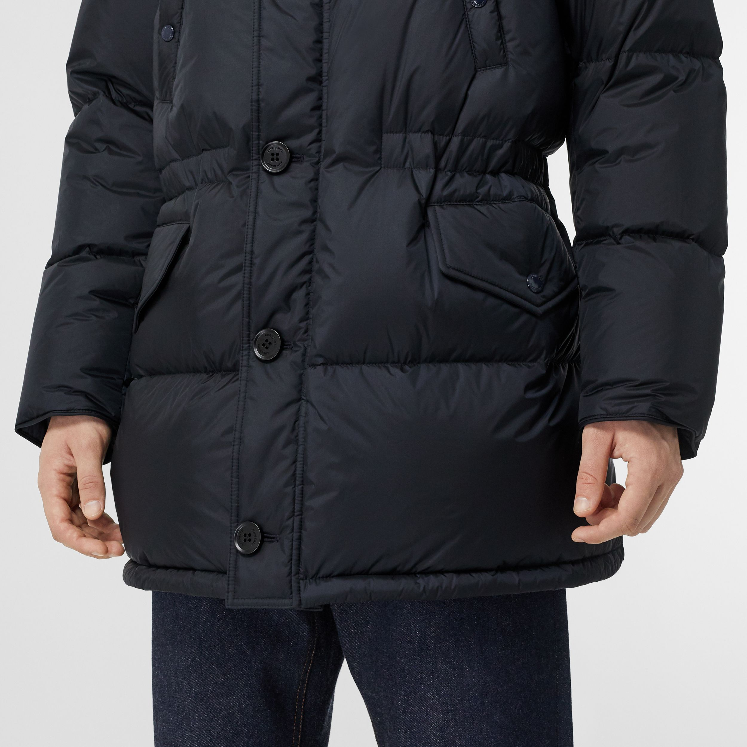 Logo Detail Hooded Puffer Coat in Navy - Men | Burberry Australia - 2