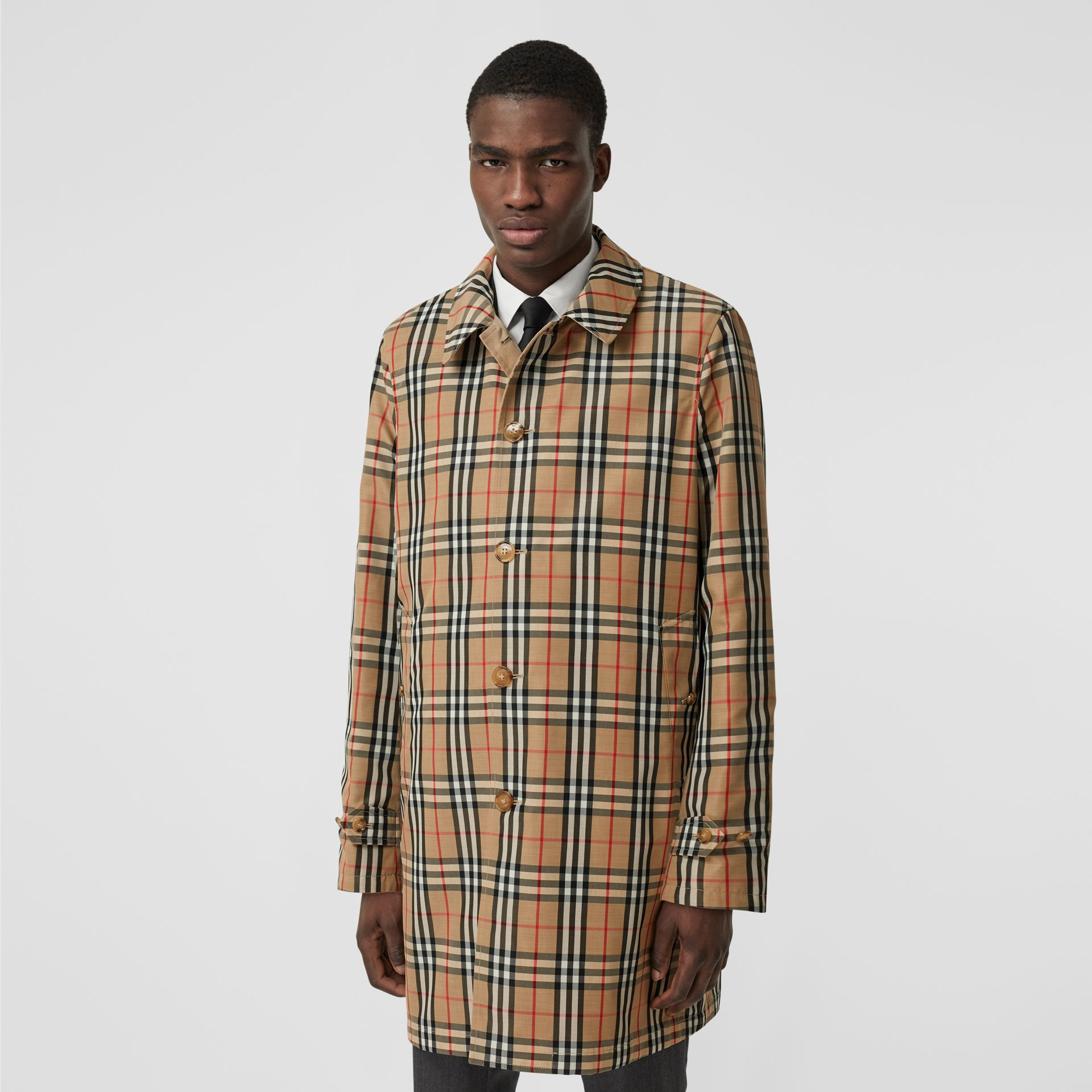 Reversible Vintage Check Recycled Polyester Car Coat in Archive Beige - Men | Burberry - gallery image 0