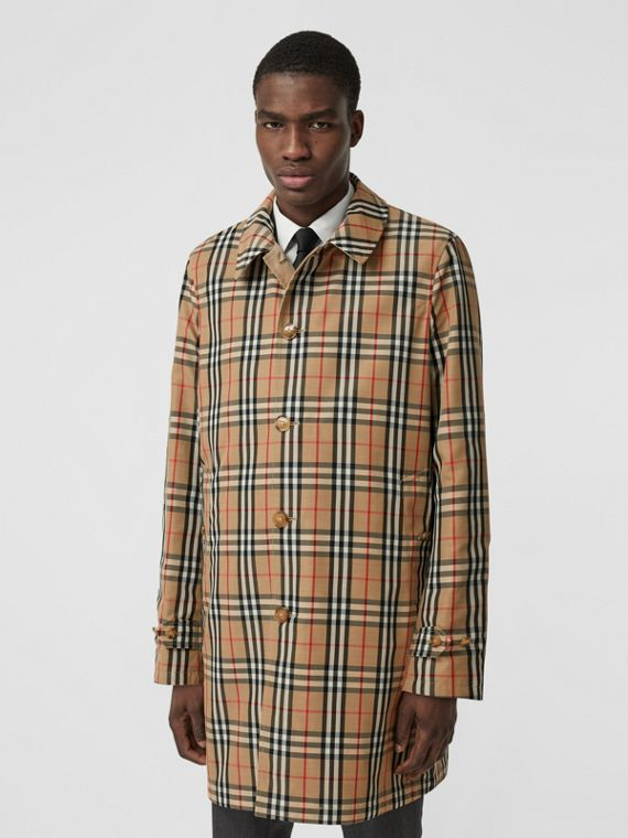 Reversible Vintage Check Recycled Polyester Car Coat in Archive Beige