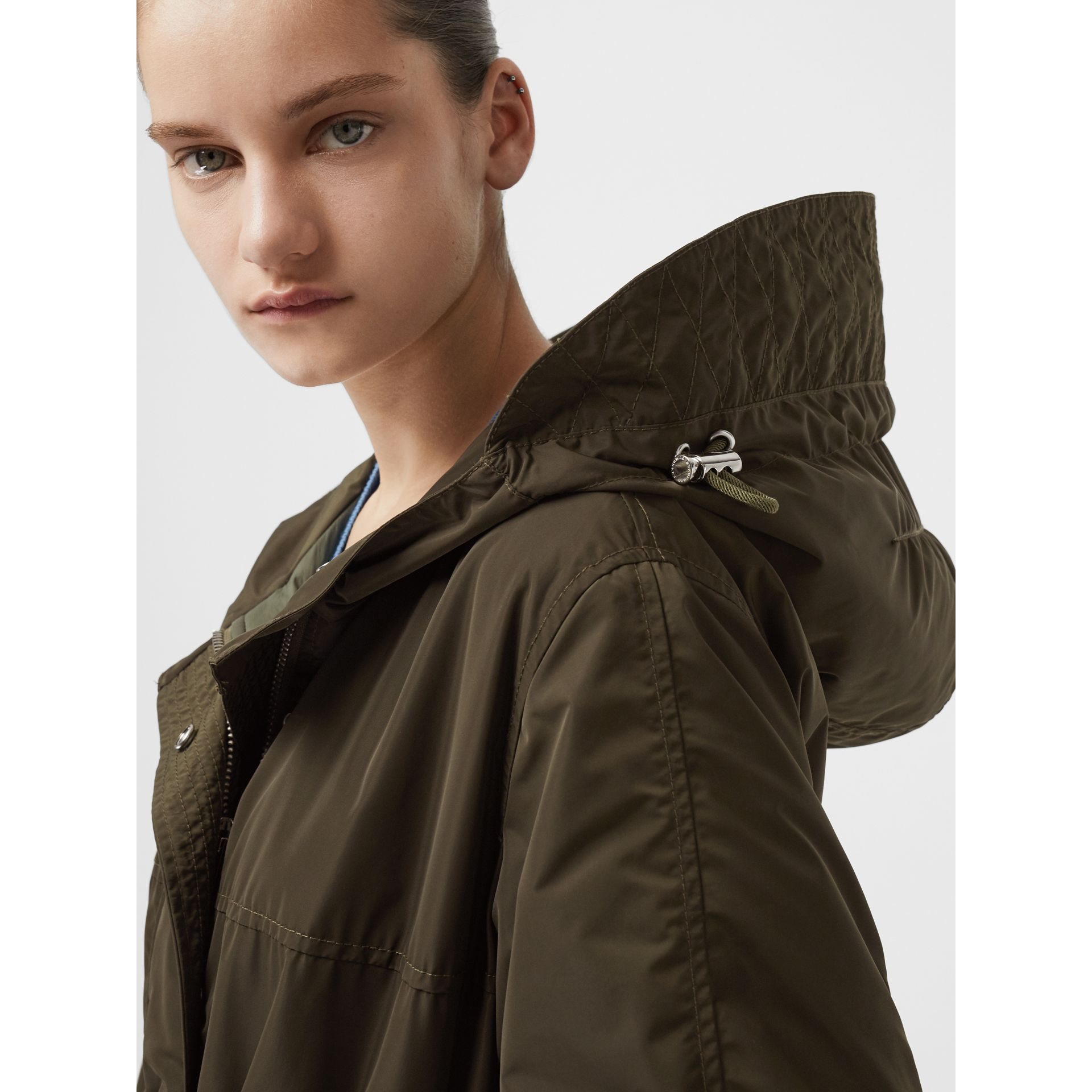 Shape-memory Taffeta Hooded Parka in Dark Olive - Women | Burberry - gallery image 1