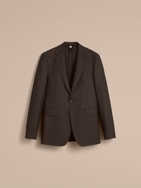 Soho Fit Wool Flannel Suit in Military Green Melange - Men | Burberry - cell image 3
