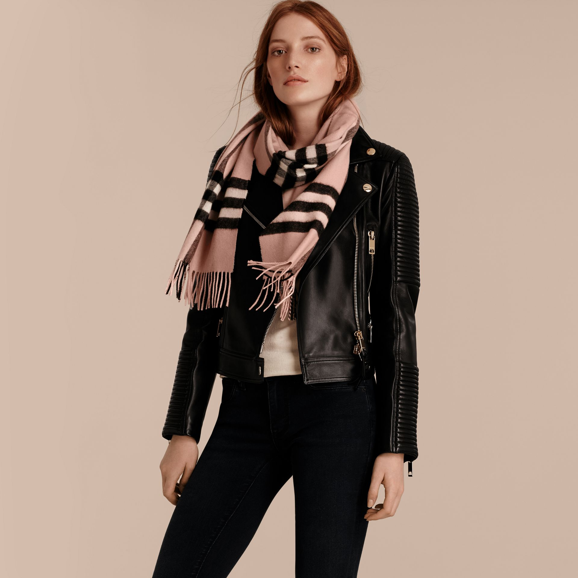 The Classic Cashmere Scarf in Check Rose - gallery image 3