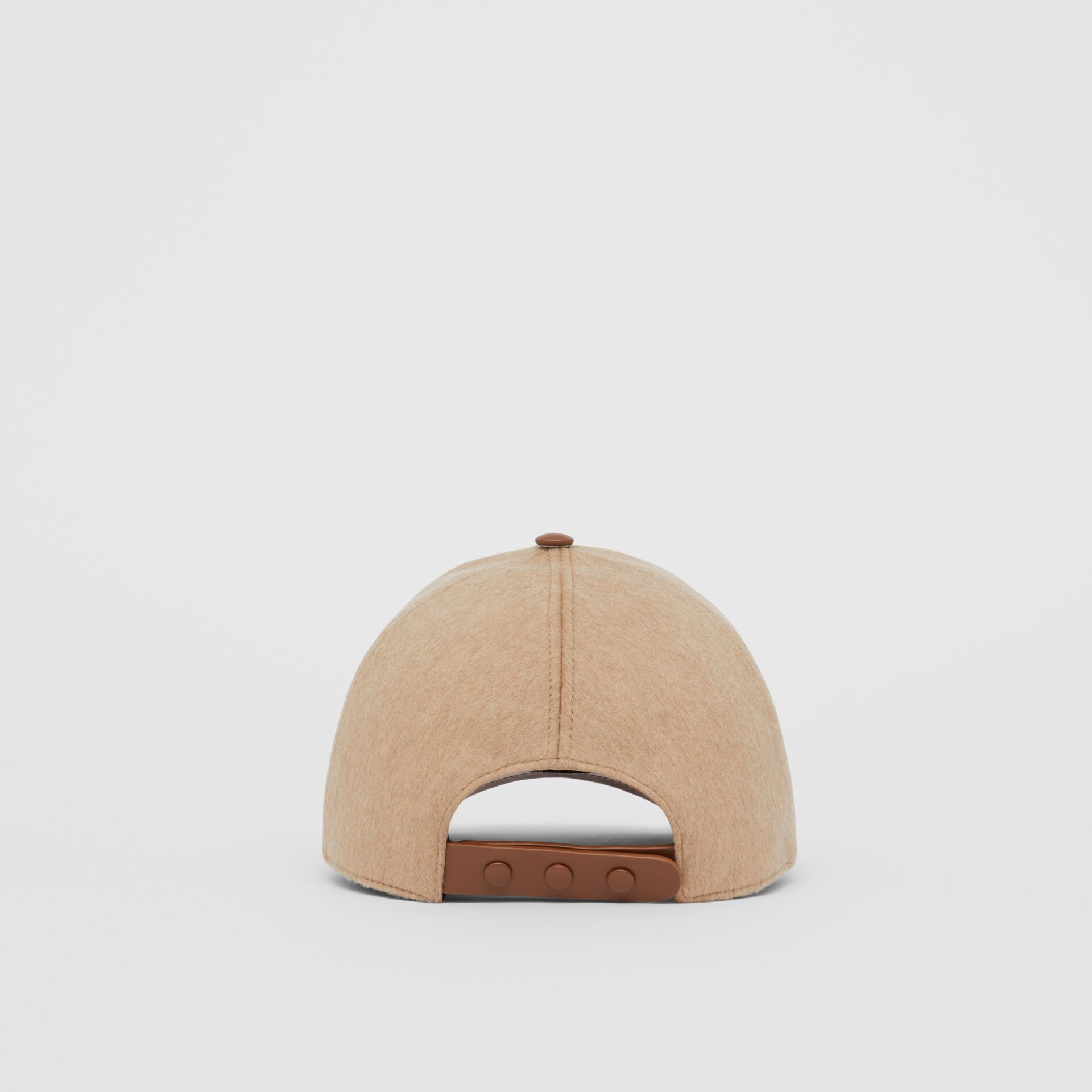 Monogram Motif Cashmere and Leather Baseball Cap in Camel | Burberry - gallery image 6