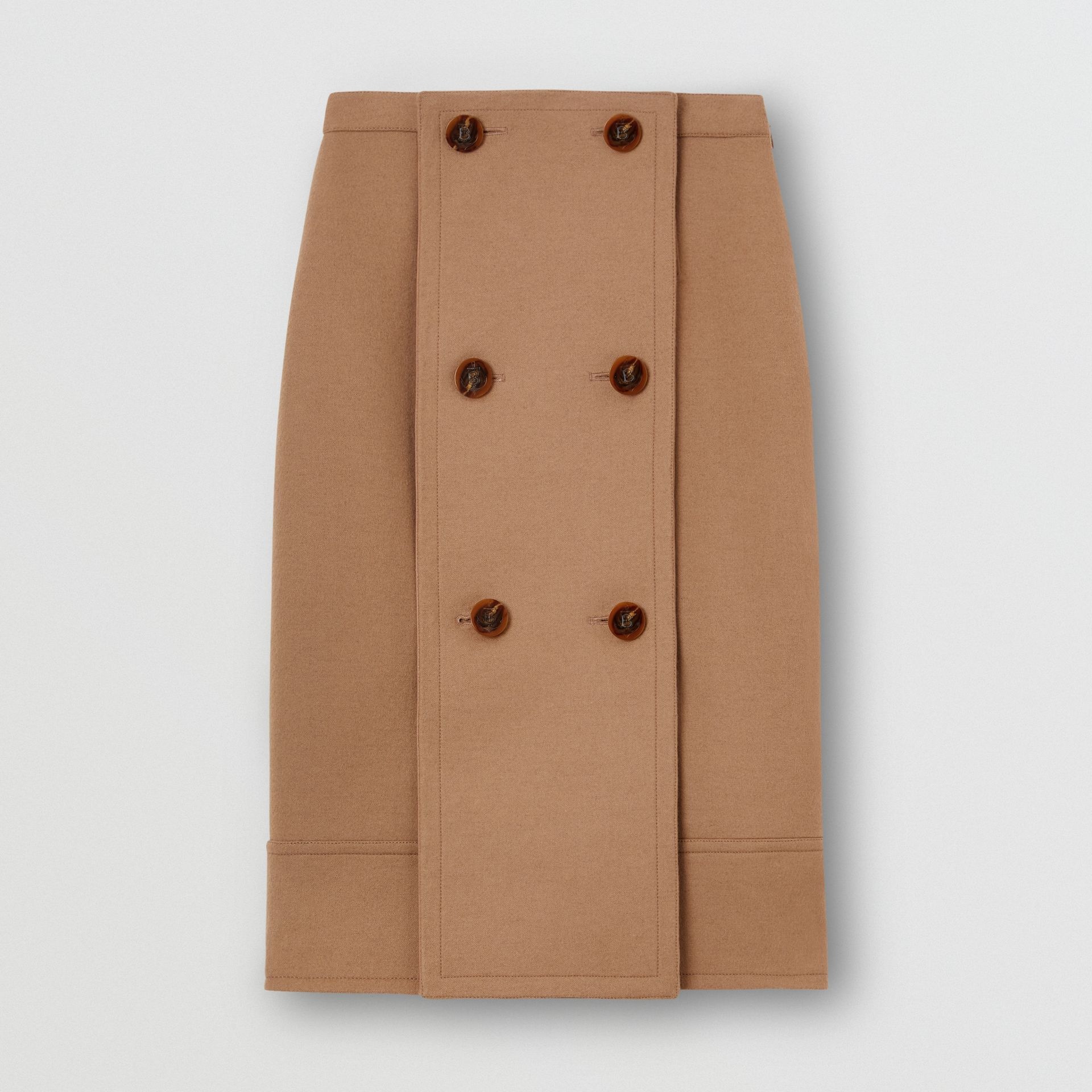 Button Panel Detail Wool Cashmere A-line Skirt in Camel - Women | Burberry United Kingdom - gallery image 2