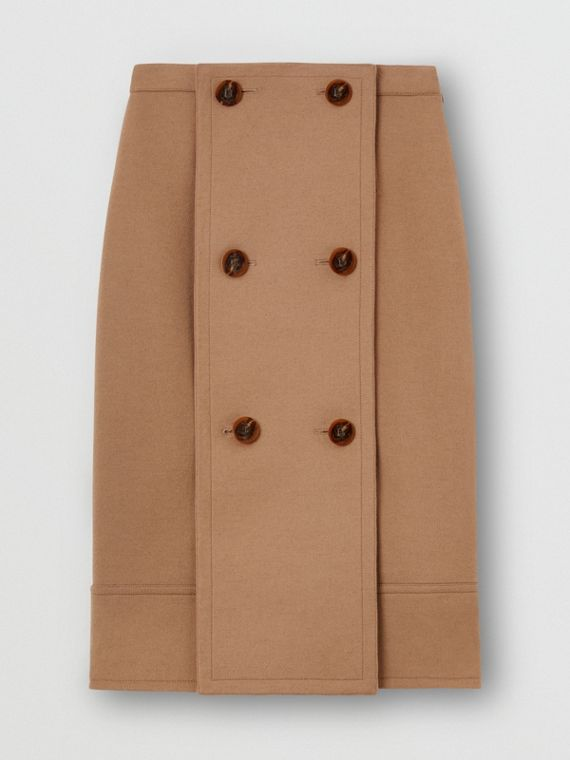 Button Panel Detail Wool Cashmere A-line Skirt in Camel