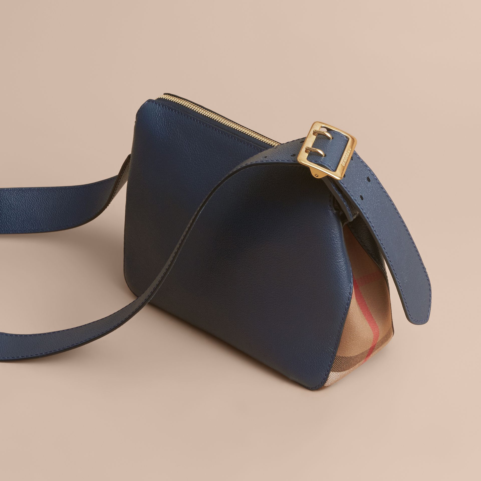 Buckle Detail Leather and House Check Crossbody Bag Blue Carbon - gallery image 4
