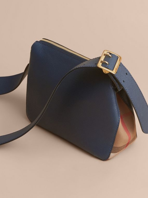 Buckle Detail Leather and House Check Crossbody Bag Blue Carbon - cell image 3