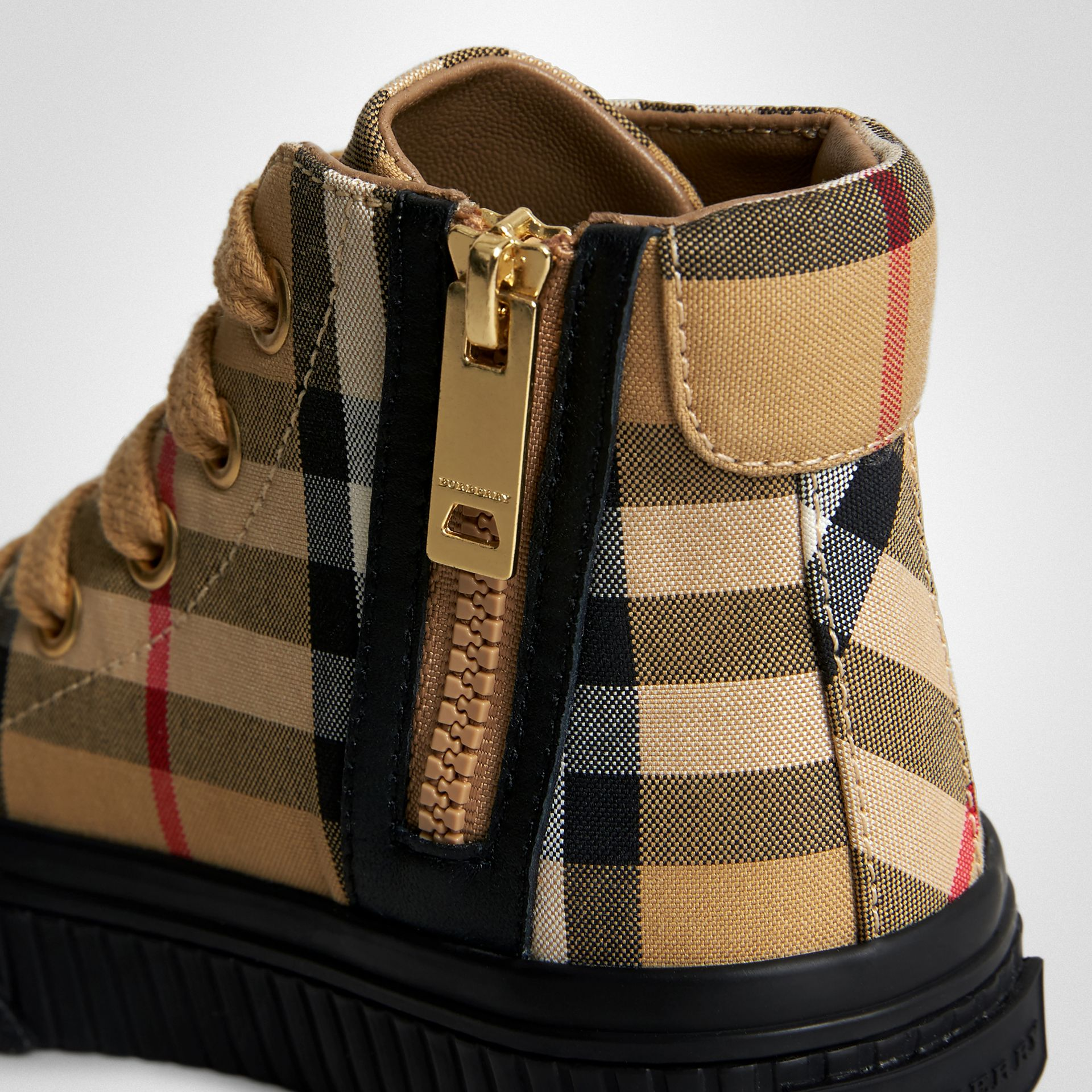 Vintage Check and Leather High-top Sneakers in Antique Yellow/black - Children | Burberry Australia - gallery image 1