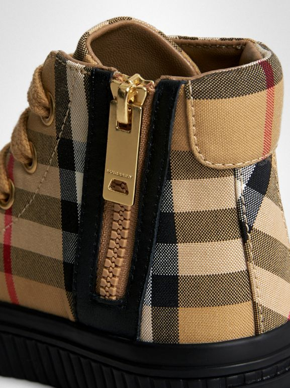 Vintage Check and Leather High-top Sneakers in Antique Yellow/black - Children | Burberry Australia - cell image 1