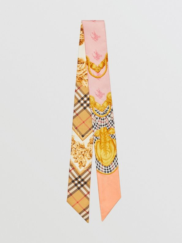 Archive Scarf Print Silk Skinny Scarf in Multicolour