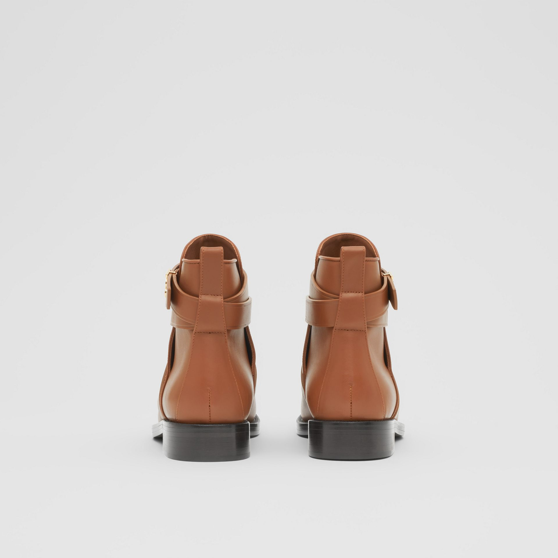 Monogram Motif Leather Ankle Boots in Tan - Women | Burberry - gallery image 3