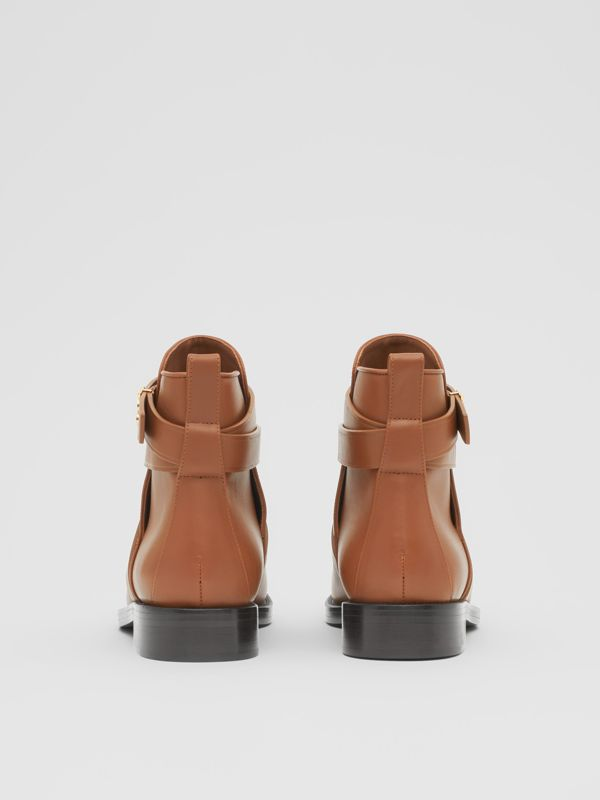 Monogram Motif Leather Ankle Boots in Tan - Women | Burberry United Kingdom - cell image 3