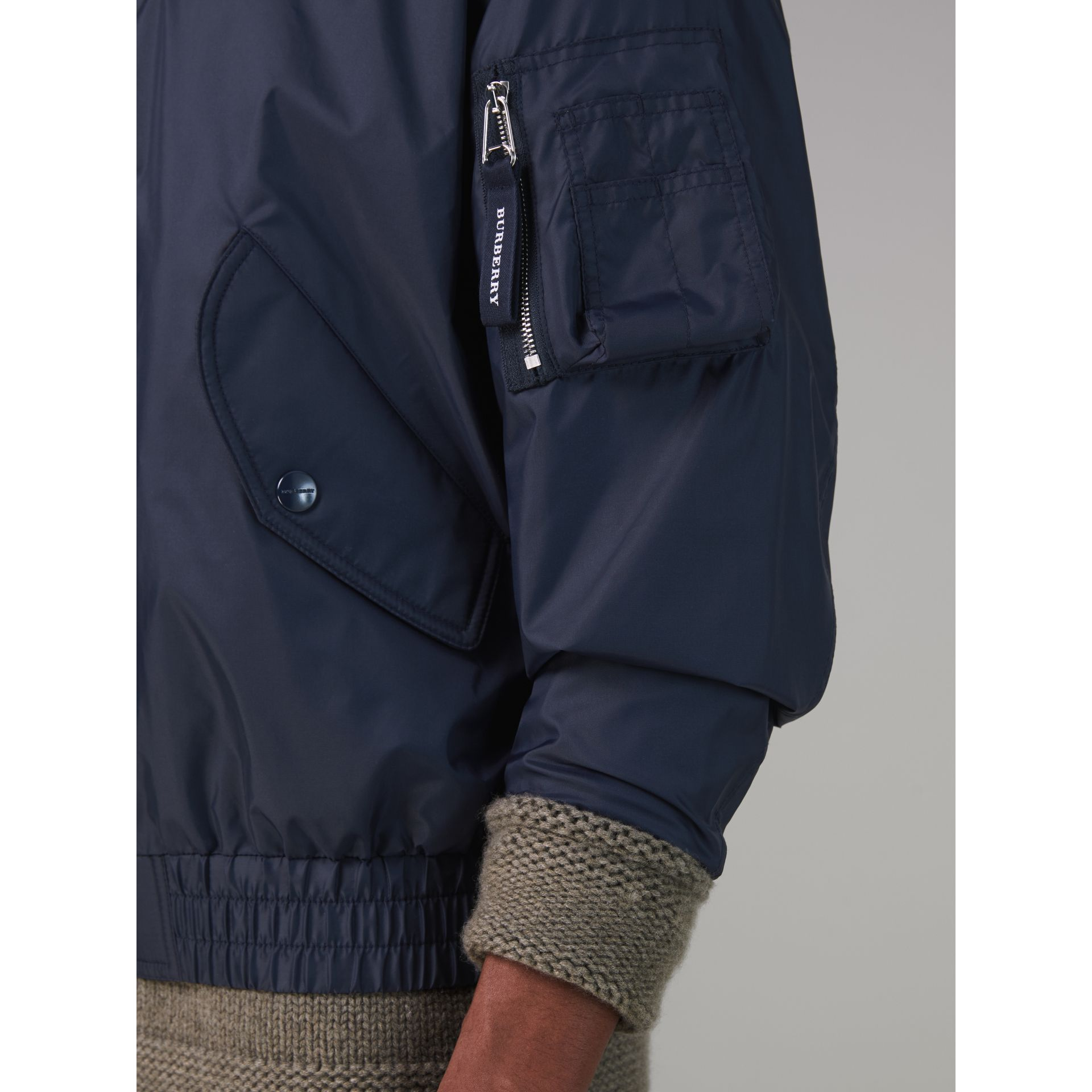 Lightweight Showerproof Bomber Jacket in Navy - Men | Burberry United Kingdom - gallery image 4