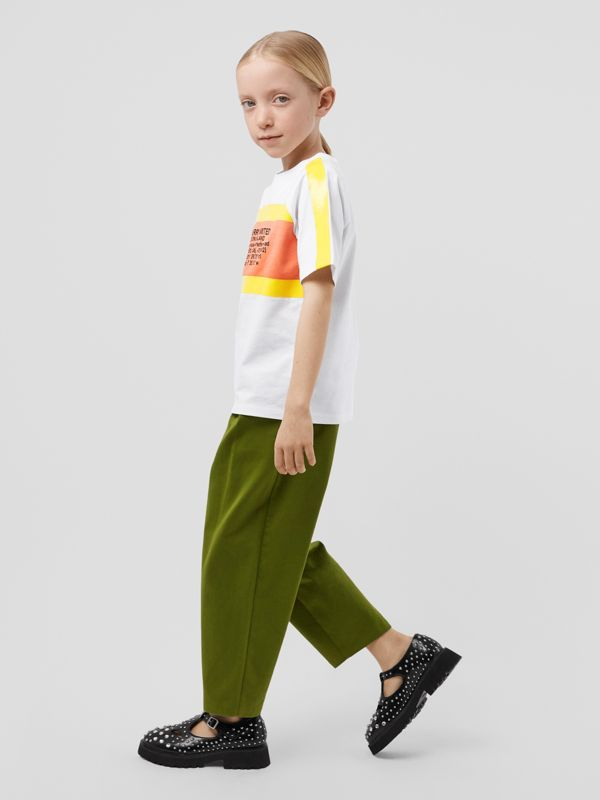Tape Detail Location Print Cotton T-shirt in Yellow   Burberry - cell image 2