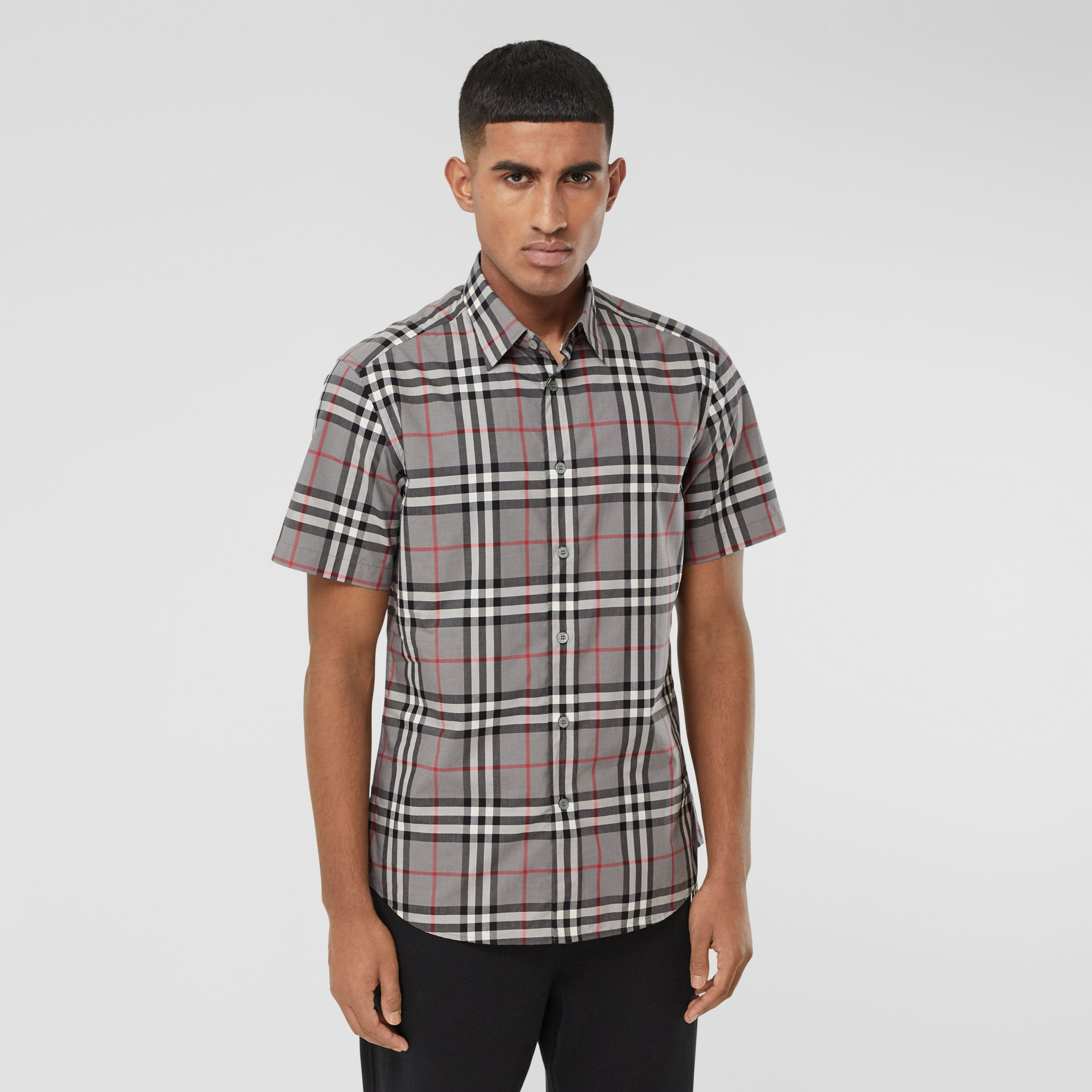 Short-sleeve Check Cotton Poplin Shirt in Storm Grey Melange - Men | Burberry United States - gallery image 0