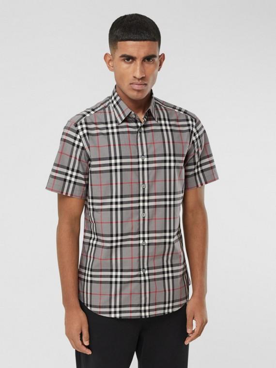 Short-sleeve Check Cotton Poplin Shirt in Storm Grey Melange