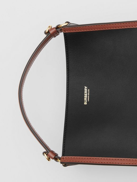 Small Two-tone Leather Peggy Bucket Bag in Black - Women | Burberry - cell image 1