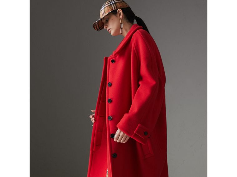 Double-faced Wool Cashmere Oversized Car Coat in Bright Red - Women | Burberry - cell image 4