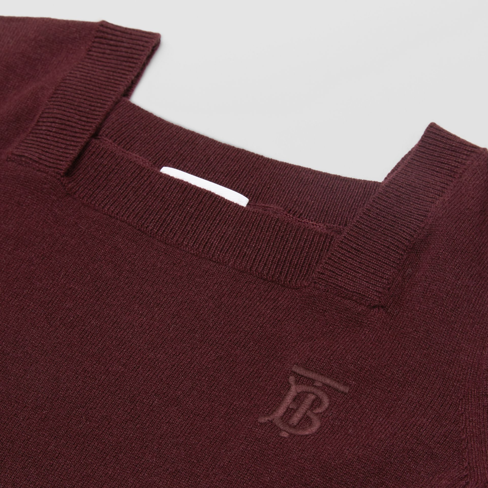 Monogram Motif Cashmere Sweater Dress in Burgundy | Burberry United Kingdom - gallery image 1