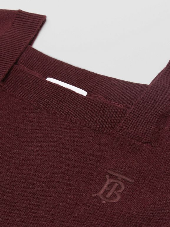 Monogram Motif Cashmere Sweater Dress in Burgundy | Burberry - cell image 1