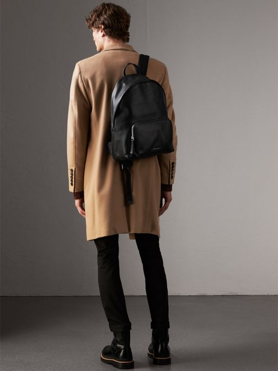 Grainy Leather Backpack in Black - Men | Burberry Canada - cell image 2