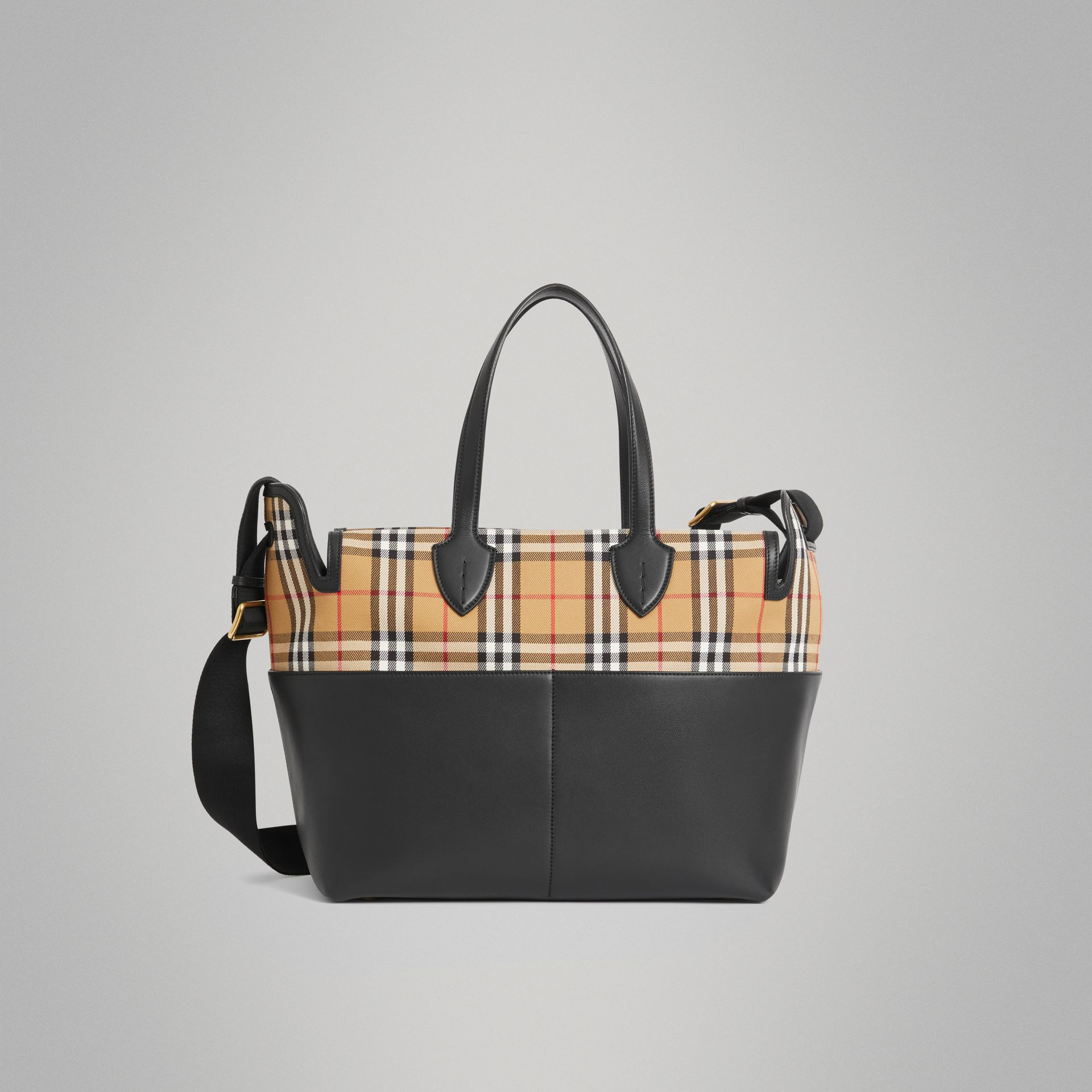 Vintage Check and Leather Baby Changing Tote in Black - Children | Burberry - gallery image 0