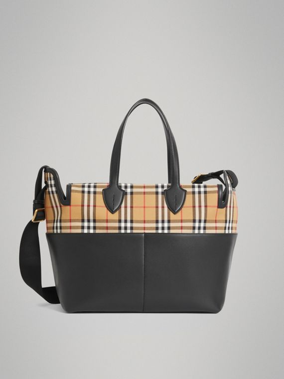 Vintage Check and Leather Baby Changing Tote in Black