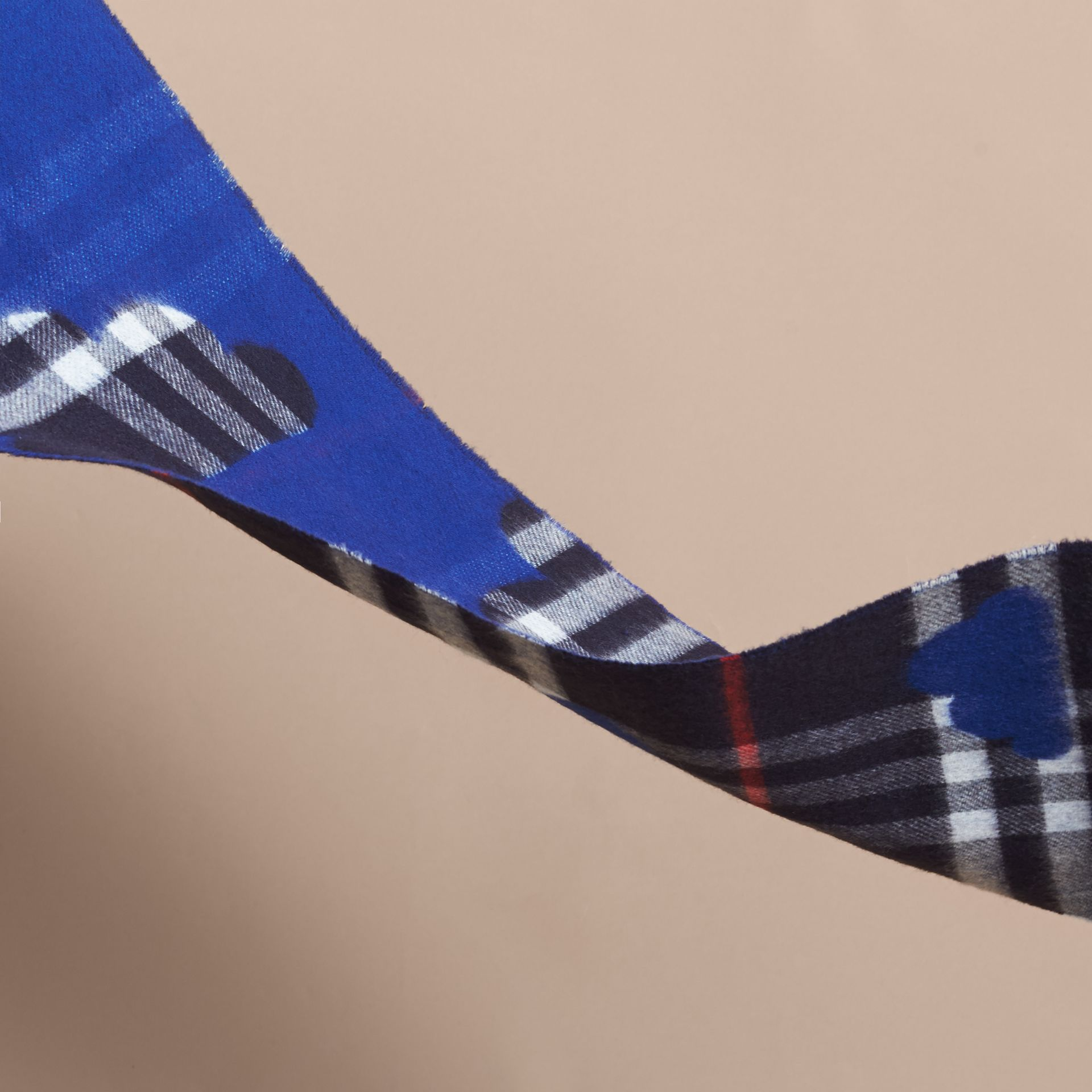 Reversible Weather Pattern Check Cashmere Mini Scarf in Bright Cobalt | Burberry - gallery image 2