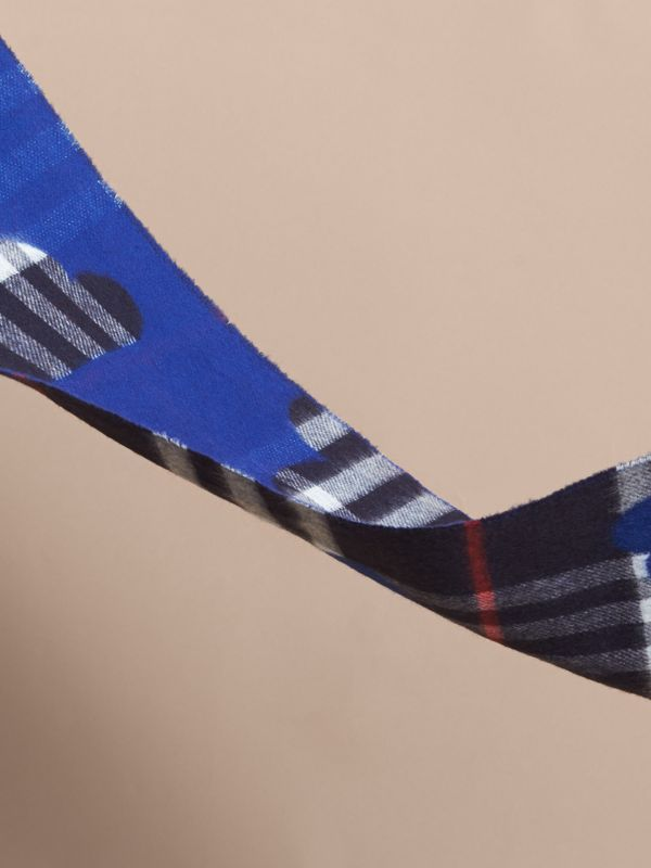 Reversible Weather Pattern Check Cashmere Mini Scarf in Bright Cobalt | Burberry - cell image 2