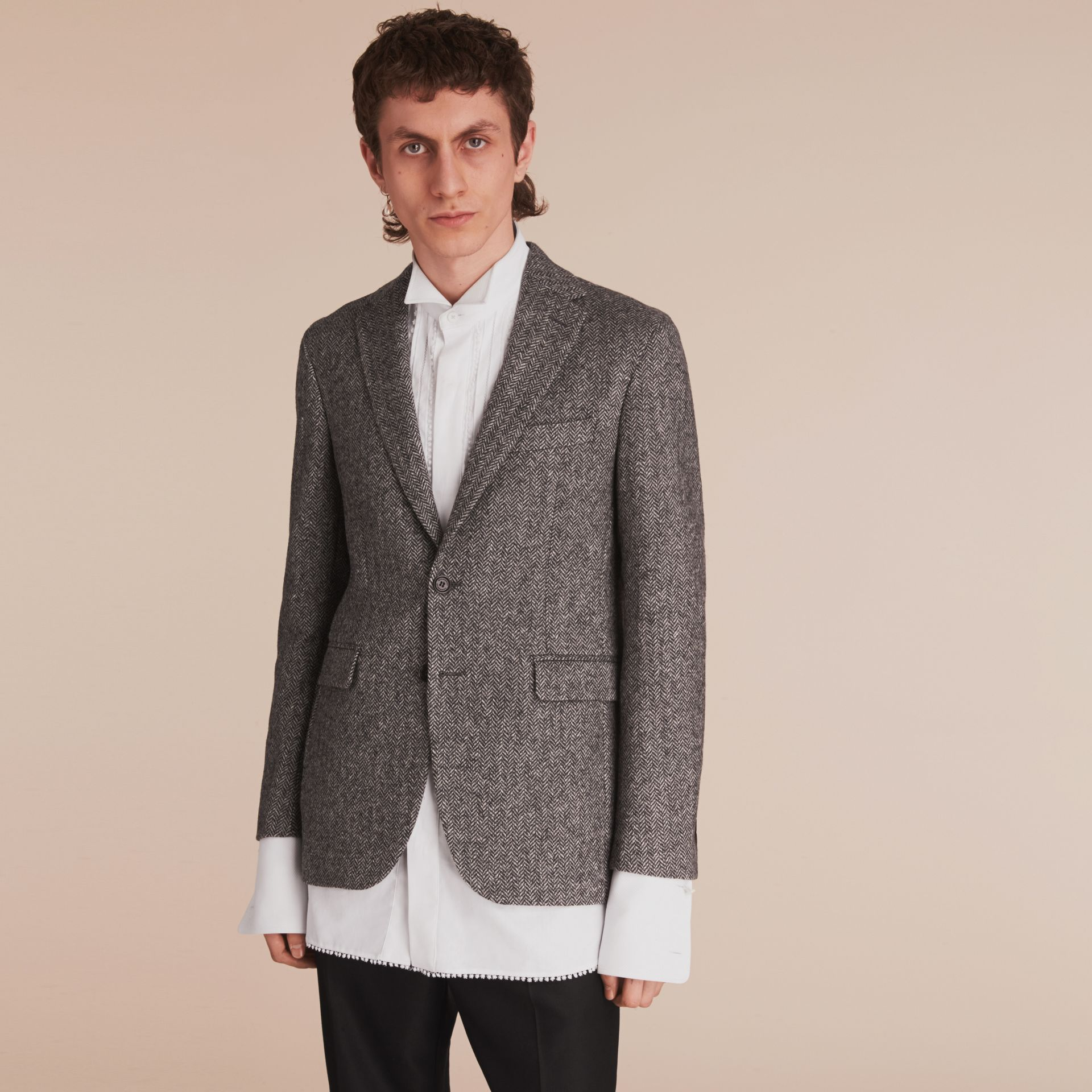 Slim Fit Herringbone Wool Tailored Jacket - gallery image 8