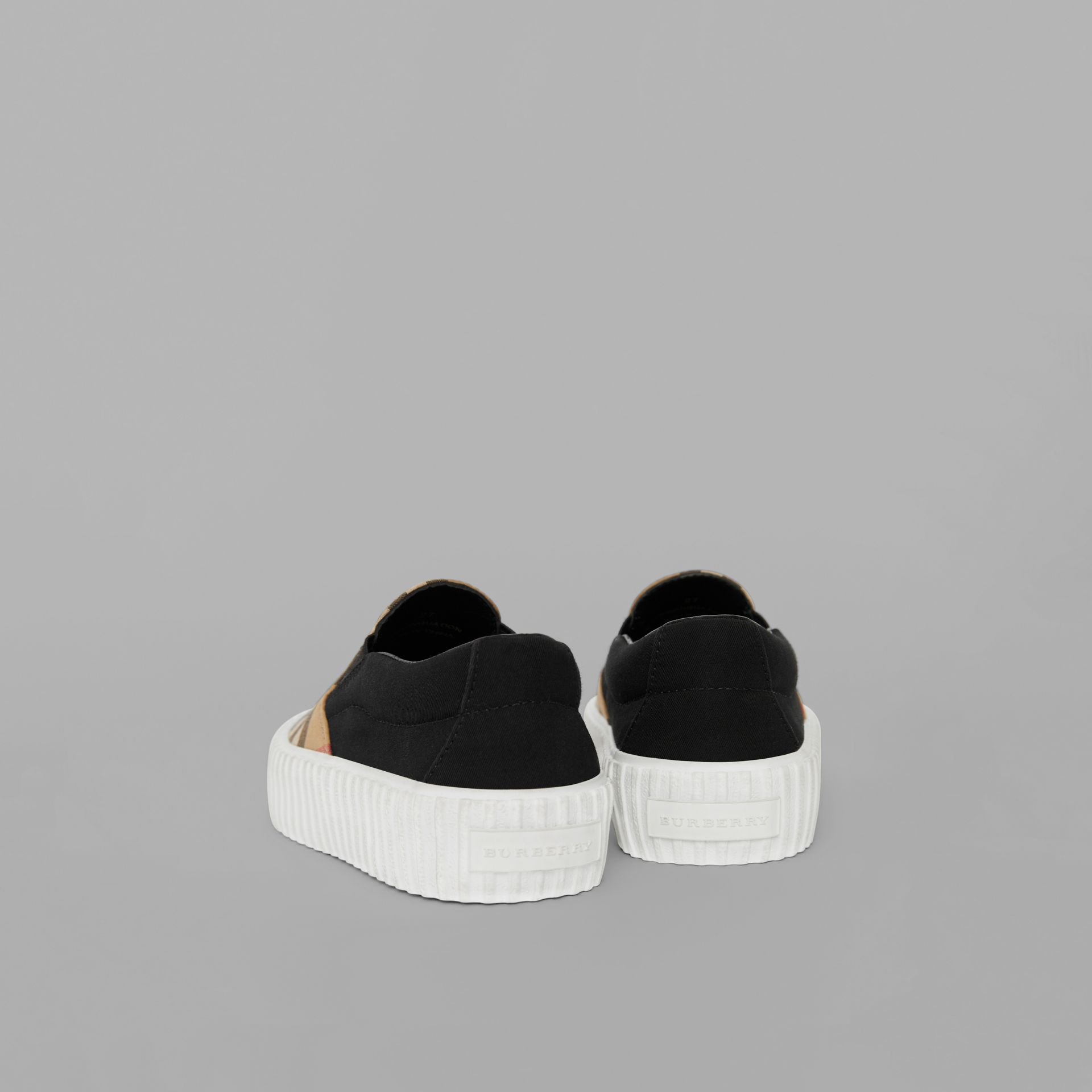 Vintage Check Detail Slip-on Sneakers in Black/antique Yellow - Children | Burberry United Kingdom - gallery image 1