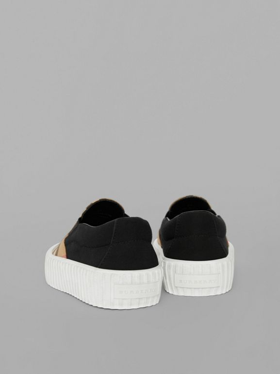 Vintage Check Detail Slip-on Sneakers in Black/antique Yellow - Children | Burberry United Kingdom - cell image 1