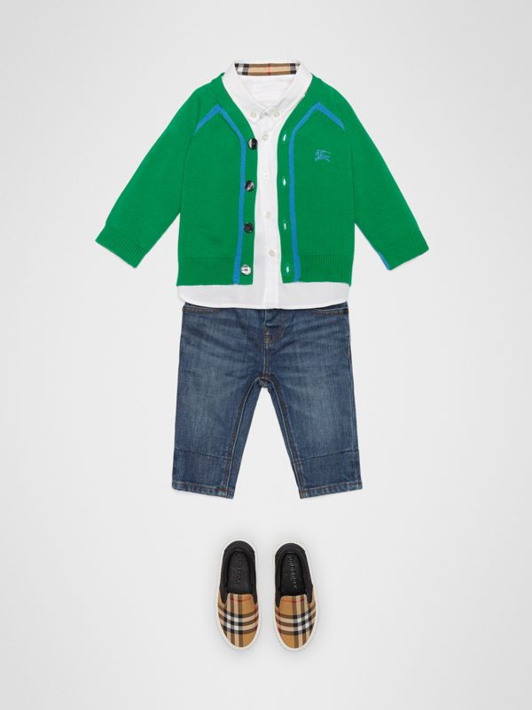 Two-tone Cotton Knit Cardigan in Bright Emerald - Children | Burberry - cell image 2