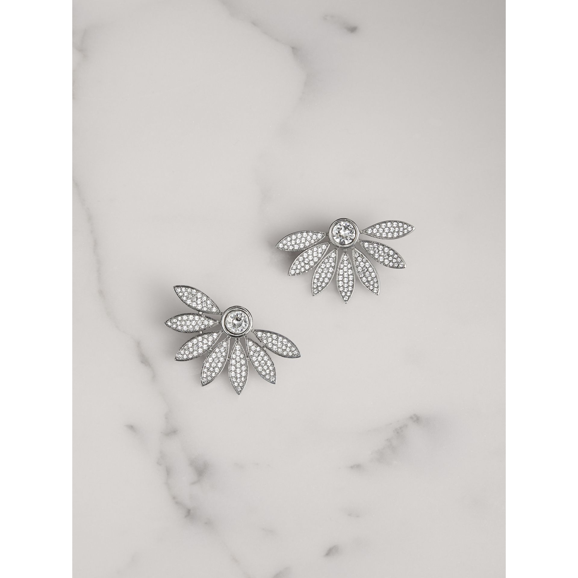 Crystal Half-daisy Stud Earrings - Women | Burberry - gallery image 0