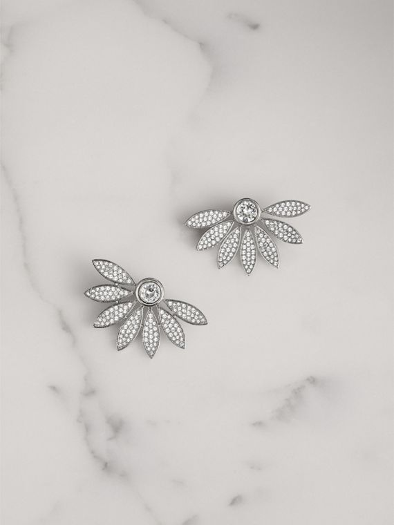 Crystal Half-daisy Stud Earrings