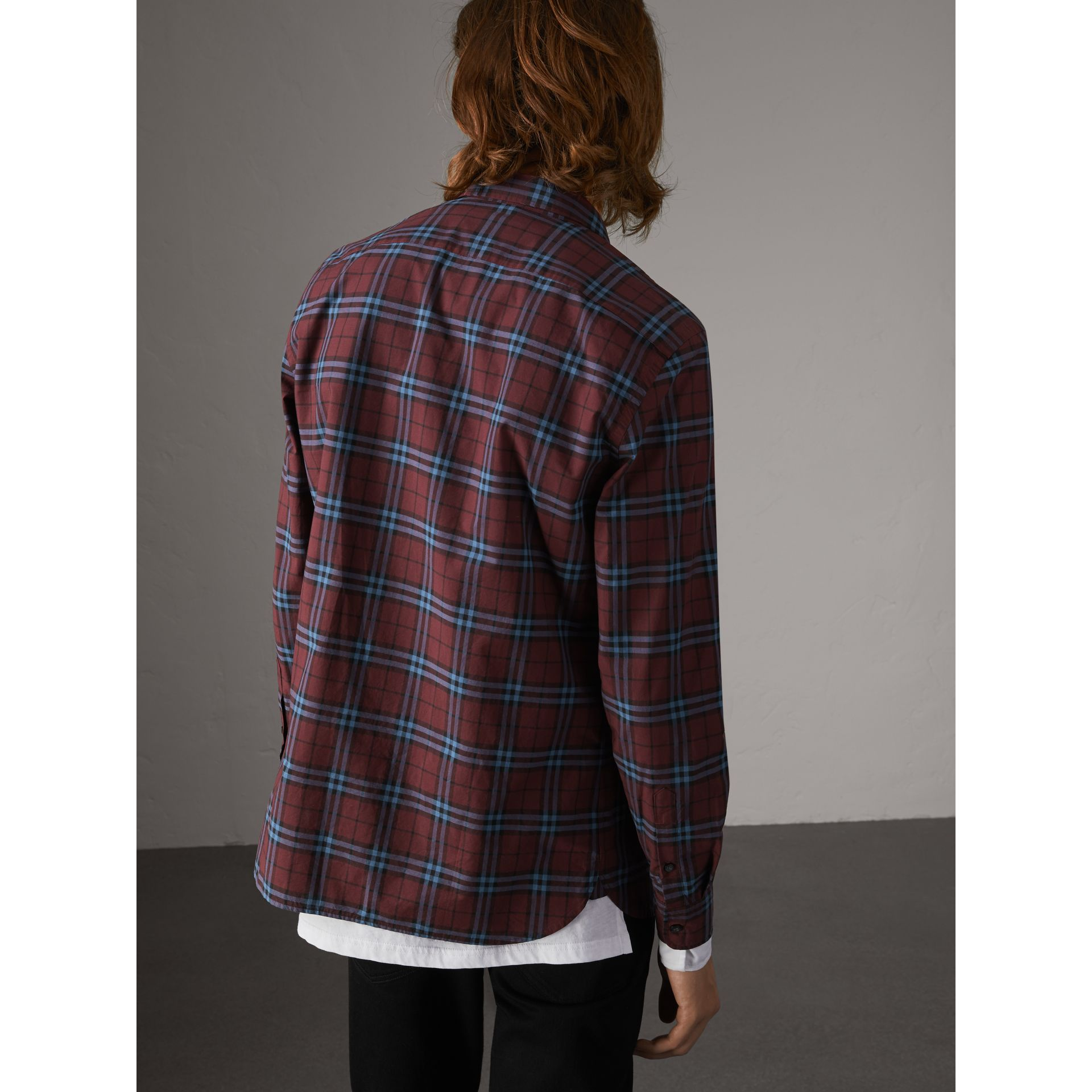 Check Cotton Shirt in Crimson Red - Men | Burberry United Kingdom - gallery image 2