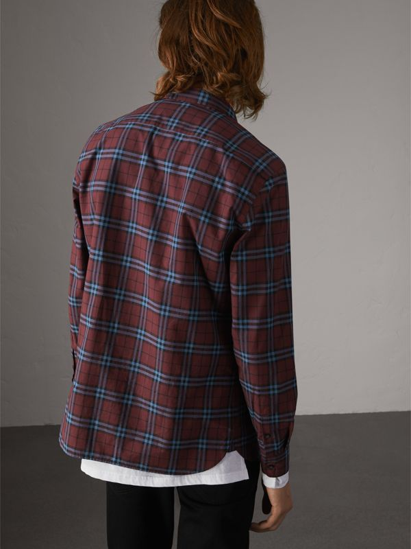 Check Cotton Shirt in Crimson Red - Men | Burberry United Kingdom - cell image 2