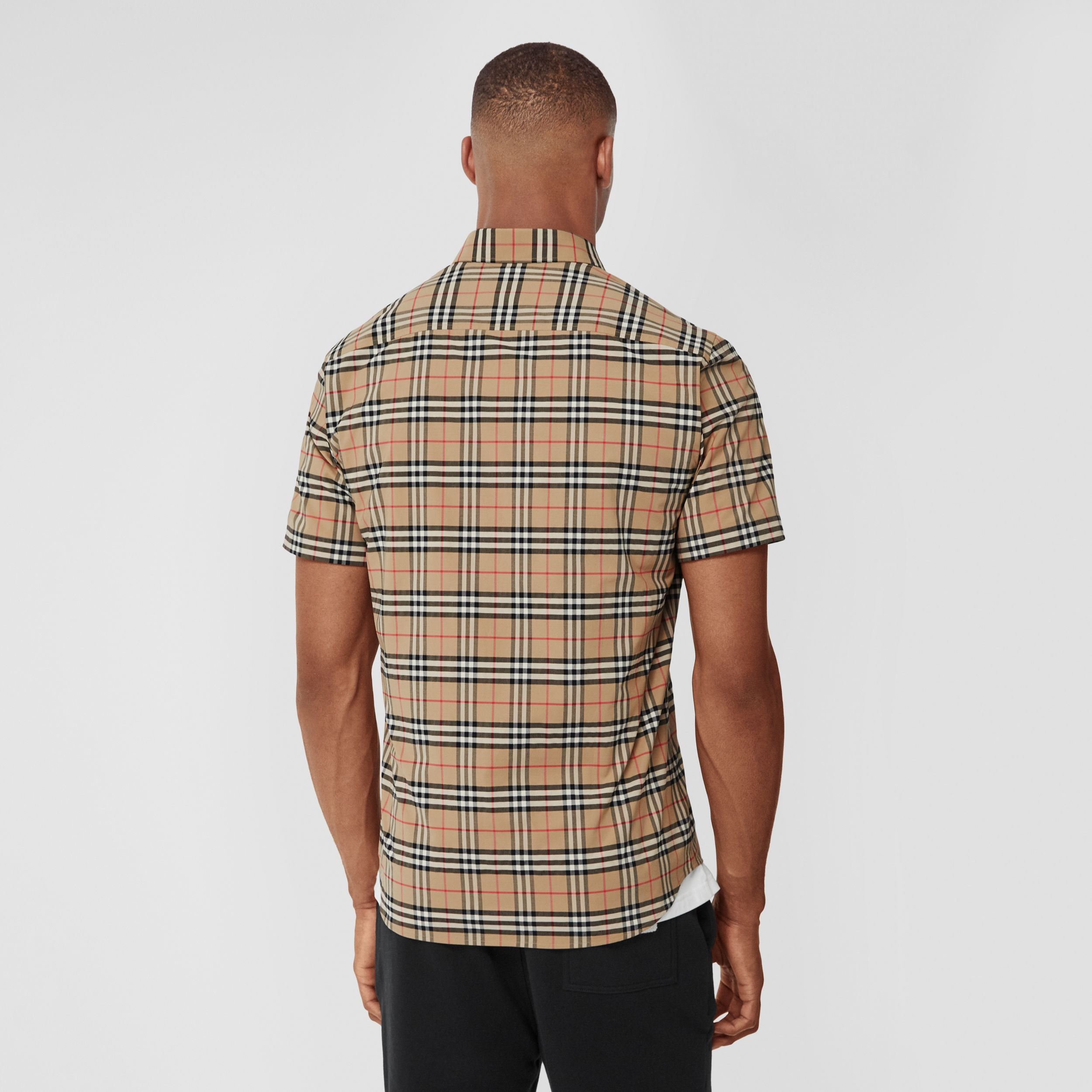 Short-sleeve Small Scale Check Stretch Cotton Shirt in Archive Beige - Men | Burberry - 3