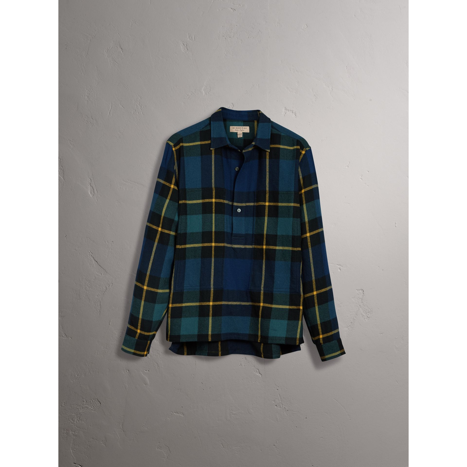 Tartan Wool Flannel Tunic Shirt in Ink Blue - Women | Burberry - gallery image 3
