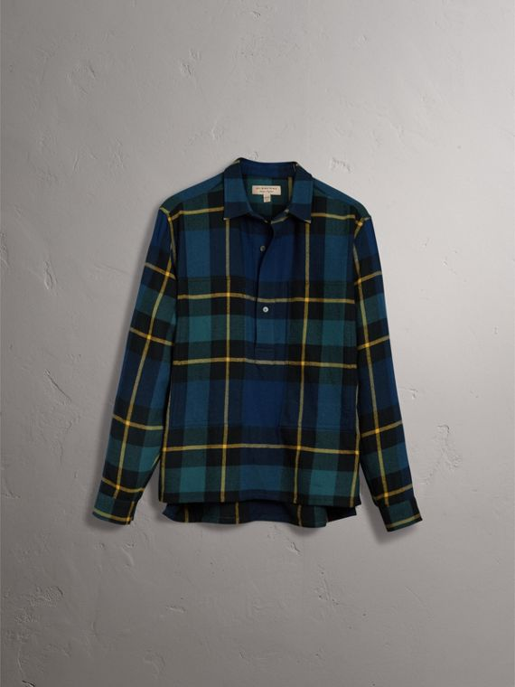Tartan Wool Flannel Tunic Shirt in Ink Blue - Women | Burberry United States - cell image 3