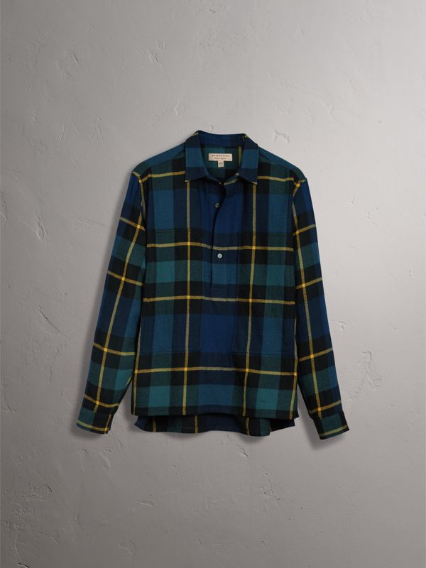 Tartan Wool Flannel Tunic Shirt in Ink Blue - Women | Burberry - cell image 3